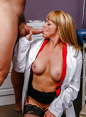 Mature doctor Shayla Laveaux examinates patients dick with her wet holes