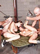Hardcore and slutty lesbian milfs Chanel Preston and Rachel RoXXX attacked soldiers