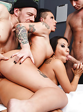 Two brunettes Asian Asa Akira and wild Christy Mack fucked by a hot cowboy in the hospital