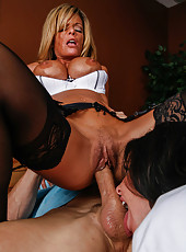 Hot milfs Kristal Summers and Veronica Avluv invited a patient with big cock for a hot threesome