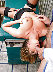 Hot milf with pierced pussy and big tits Samantha Saint fucked by her doctor