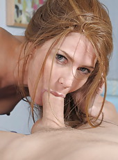 Unstoppable milf Jenni Lee starts with a great blowjob and gets drilled in her shaved pussy
