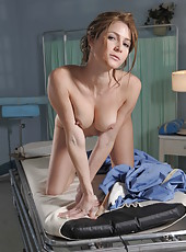 Astonishing babe Jenni Lee plays with her shaved pussy in the hospital