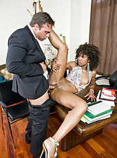 Hardcore interracial action with curly haired Ebony milf Misty Stone and white man