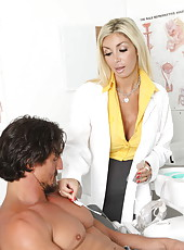 Great milf Evita Pozzi uses her perfect big tits and tight shaved pussy to heal this man
