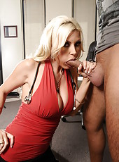 Great blonde milf with huge breast and big ass Brittany Andrews gets licked, pounded and facialized