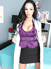 Milf with hot face, big tits and sexy tattoos Angelina Valentine works in the genital hospital