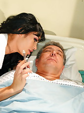 Top-class brunette bombshell Angelina Valentine enjoys to seduce and fuck her patients