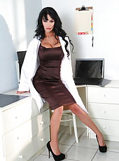 Smoking hot, irresistable and fascinating brunette bombshell Angelina Valentine takes off doctor