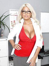 Irresistible blonde treasure with huge tits and dulcet ass Bridgette B makes wild all patients