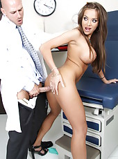 Sexy Nika Noire with big round tits and hungry shaved pussy came to visit her doctor