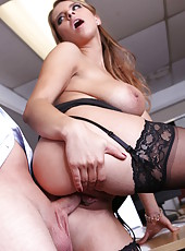Incredible big boobs and hot pussy by Katerina in the wild office fucking action