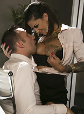 Hardcore tattooed babe Bonnie Rotten spends wild night in the office