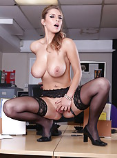 Awesome babe with huge boobs Katerina gets naked in the office