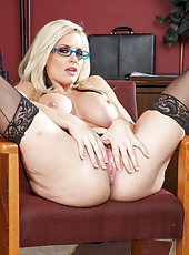 Glamorous blondes in sexy lingerie and glasses Alena Croft and Summer Brielle