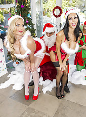 Unforgettable Christmas threesome action with two milfs Ava Addams and Phoenix Marie