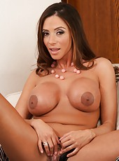 Beautiful milf Ariella Ferrera teasing her boobies and fingering hairy snatch
