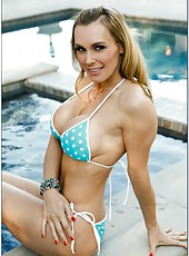 Naive blonde Tanya Tate showing sexy legs and stripping outside