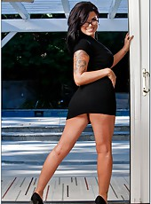 Exquisite brunette with hot tattoos and sexy tits Eva Angelina fucked by her bf