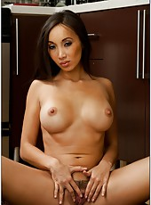 Asian bombshell Katsuni fucked in her gentle mouth and tiny trimmed pussy