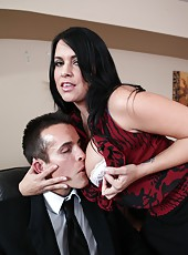 Busty brunette Lacie James opens her mouth for an awesome blowjob