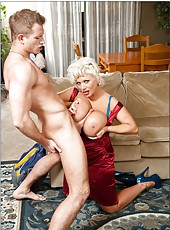 Winsome bombshell Claudia Marie using shaved pussy to seduce sexy guys