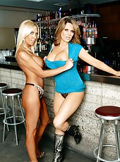 Amazing slut Elle Cee showing her awesome body and posing with a friend