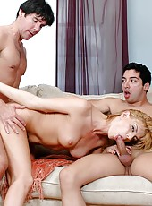 Sweet cougar Darryl Hanah is being banged hard by two huge cocks