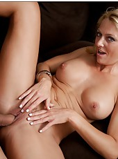 Fantastic babe Brenda James swallowing big cocks in various places