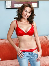 Magnificent milf Danielle Frost showing her fine body in her red lingerie