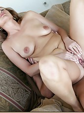 Frolicsome milf Joey Lynn sucking a big dagger and getting nailed
