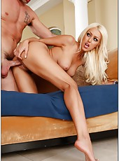Magnificent blonde wife Breanne Benson is sucking a cock and being banged