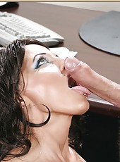 Jolly minx Sunshine Seiber taking off panties and making a blowjob
