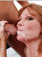 Cuddly mature Darla Crane sucking a nice wiener and getting a cumshot