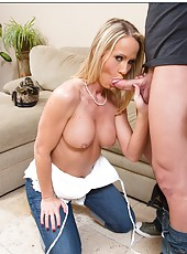 Playful Simone Sonay seducing young boys and fucking them in her house