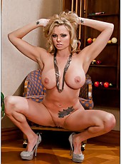Spoiled babe Briana Banks getting naked and fingering tight vagina