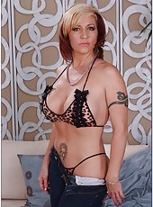 Radiant minx Brittany Blaze prefers posing naked and playing with tits
