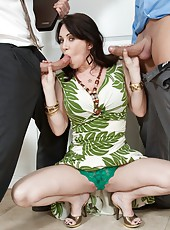 Curious pornstar Alia Janine working with two cocks for double pleasure