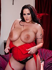 Chubby brunette pornstar Carmella Bing showing her delicious and big body
