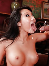 Asian bombshell with big boobs Asa Akira shows off her hardcore fucking hunger