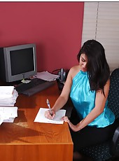 Busty Charley Chase is tired off dull office work and decided to show us real action