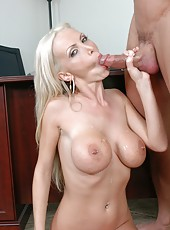 First-class blonde with flawless forms for hot sex Nikki Benz demonstrates real passion