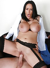 Extremely busty brunette lady Carmella Bing wears to sexy lingerie for office work