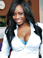 Unique Ebony Jada Fire with awesome boobs rides and sucks pale cock