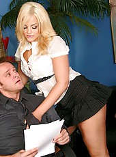Pretty and sexy blonde Alexis Texas came at work in too sexy skirt