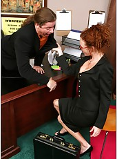 Hardcore office anal fuck with curly haired redhead Audrey Hollander