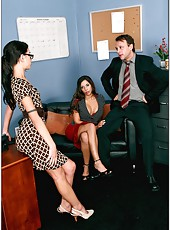 Unmatched babes Rachel Starr and Micah Moore in the threesome action