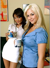 Blonde Sarah Vandella and Asian Lucy Lee are happy to get a cock during lunch break