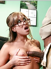 Provocative lady named August satisfied by huge black dick in the hardcore action