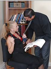 Office sex with astounding blonde in sexy stockings Kylie Wilde